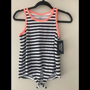 Girls Stripe Tank with front tie